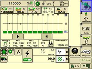 Рабочая страница для управления прижимным усилием сеялки точного высева в системе SeedStar3 HP