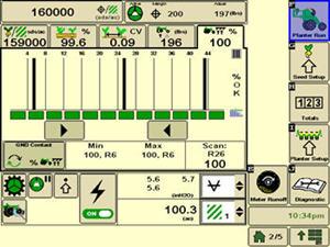 Рабочая страница с данными о плавности хода и контакте с грунтом в системе SeedStar 3 HP