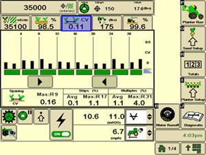 Рабочая страница функции контроля соблюдения шага высева в системе SeedStar 3 HP