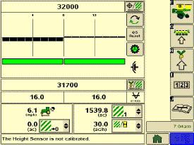 Страница управления сеялкой точного высева в полноэкранном режиме (система SeedStar2)