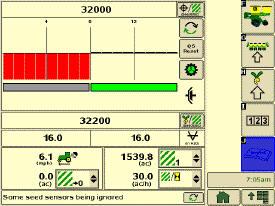 Система SeedStar2 отображает состояние отключения половины высевающих секций