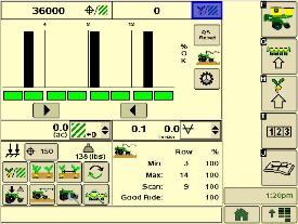 Страница динамического контроля сеялки точного высева, система SeedStar XP