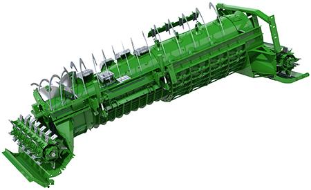 Singelrotorn arbetar med endast en materialström, istället för att dela upp materialet, vilket innebär mindre effektförbrukning.