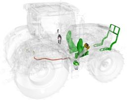 Traktor förberedd för lastare