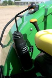 Växelspaken sitter nära hydrauluttagets joystick