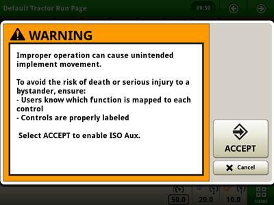 Varningsmeddelande före aktivering av ISO-tillbehörsfunktioner på den elektriska joysticken