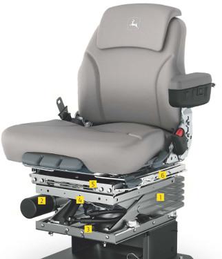 Det aktiva förarsätet kombinerar elektrohydraulik med luftfjädring för bättre körkomfort.