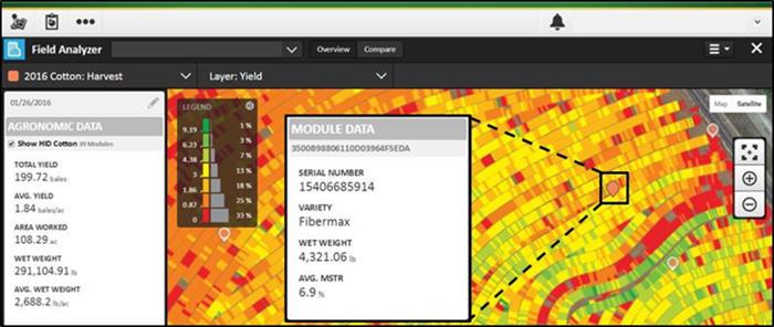 John Deere İşlem Merkezi Tarla Analizörü'nde görüntülenen yuvarlak modül bilgileri