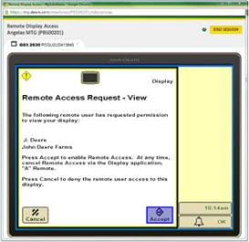RDA mostrando la pantalla del monitor GreenStar 3 2630: vista remota