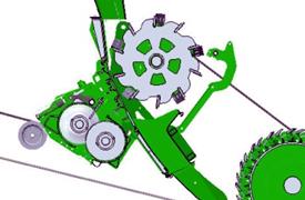 Procesador de grano en posición de trabajo