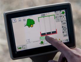 Pantalla del monitor de la automatización de tractor-empacadora