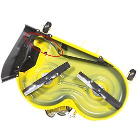 MulchControl con deflector abierto