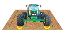 Representación del tractor entre hileras de caña de azúcar