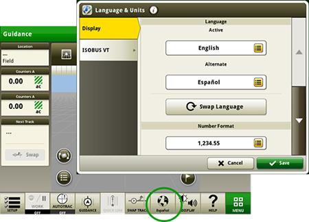 Alterne entre idioma activo y alternativo en el monitor