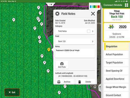 Los límites y los marcadores pueden verse en Revisión de campo