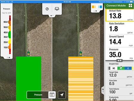 Los mapas de dosis real y de presión de Connect Mobile en vista de pantalla dividida proporcionan al operador una mayor comprensión del rendimiento de la máquina