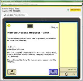RDA mostrando la pantalla GreenStar™ 3 2630 – vista remota