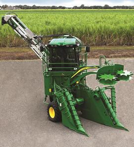 El despuntador y los divisores de cosecha giran con las ruedas