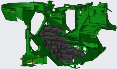 Ilustración de un tren de rodillo de alimentación con las piezas XWear™ en negro