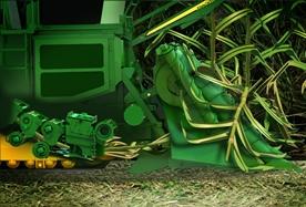 Divisores de cultivo flotantes y control de altura del cortador de base de contornos