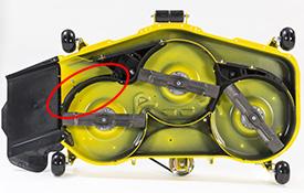 MulchControl™ con deflector cerrado (se muestra la misma plataforma en un tractor de jardín serie X500)