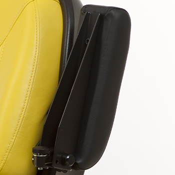 Left armrest in raised position