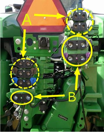 Cinco acopladores de 1,3 cm (1/2 in) (A) y tres acopladores de 1,9 cm (3/4 in) (B)