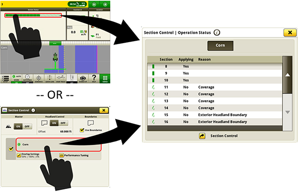 Access the Section Control diagnostic table to view the operation status and reason for the status