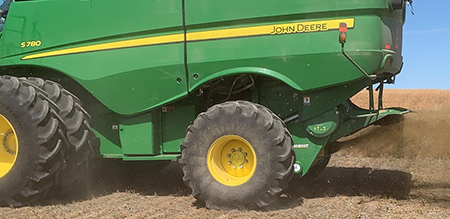 John Deere S700 Series Combine fitted with Seed Control Unit in lentils