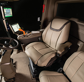 Leather seat inside of cab