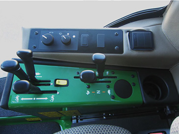 Right-hand controls, instruments, and cup holder
