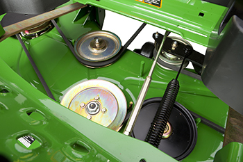 Floor panel removed for mower access (similar Z970R shown)