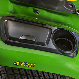 Cup holder and covered toolbox on fender