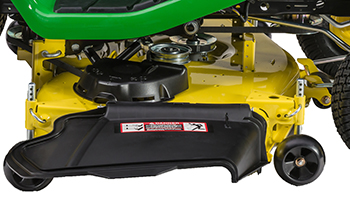 Right side of Accel Deep 48A Mower Deck (shown on X380 Tractor)