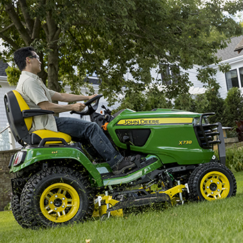 X738 Tractor mowing
