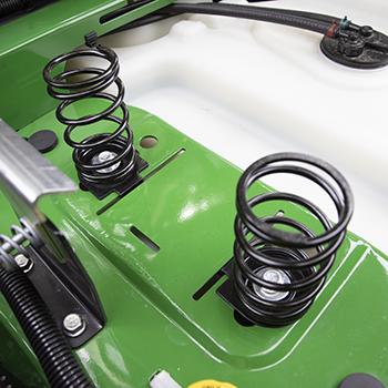 Seat springs in rearward position for heavier operators