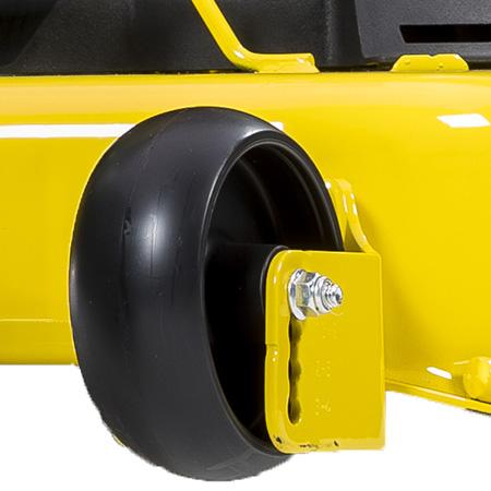 Double-captured mower wheel