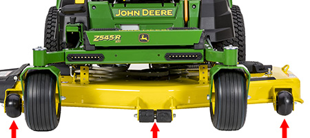 Right and left mower anti-scalp wheel and center rollers