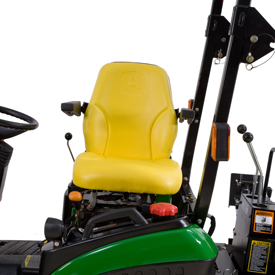 Seat swivels from tractor to backhoe position