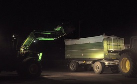 Front loader lights increase visibility