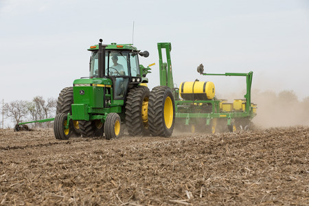 John Deere 4455 Tractor and 1745 Planter
