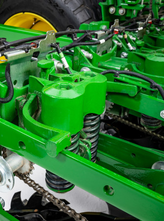 Adjustable heavy-duty downforce springs on 1745 Planter