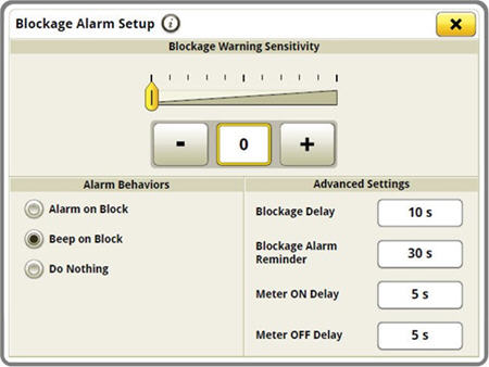 Blockage sensitivities and alarm delays are all set up on one easy-to-navigate screen