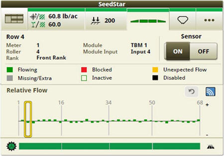 Operators can zoom into the row level to access row/sensor information and turn a sensor on/off independently