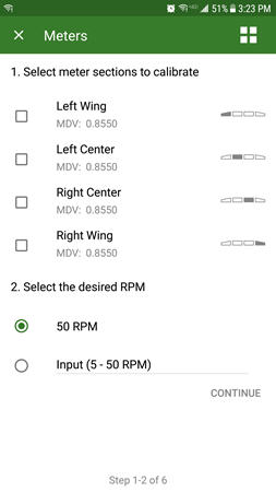 Select meters to calibrate
