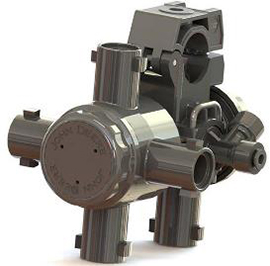 One of four nozzles can be selected to switch between five fixed positions