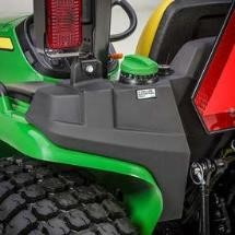 Fuel tank is located on the rear of the tractor to allow for easy access when fueling