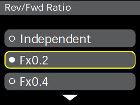Forward/reverse settings in cornerpost display