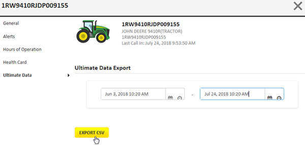 Exporte dados em máquinas individuais
