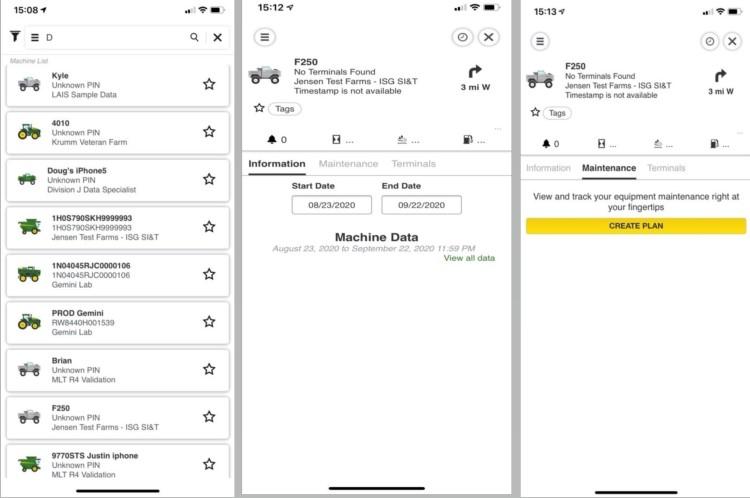 Use o aplicativo móvel JDLink para visualizar e editar planos de manutenção